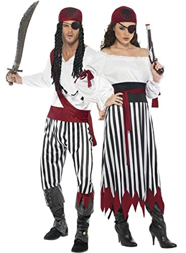 Couples Striped Pirate Shipmate Deckhand Book Day TV Film Matching Fancy Dress Costumes Outfits (Ladies UK 8-10 & Mens ()