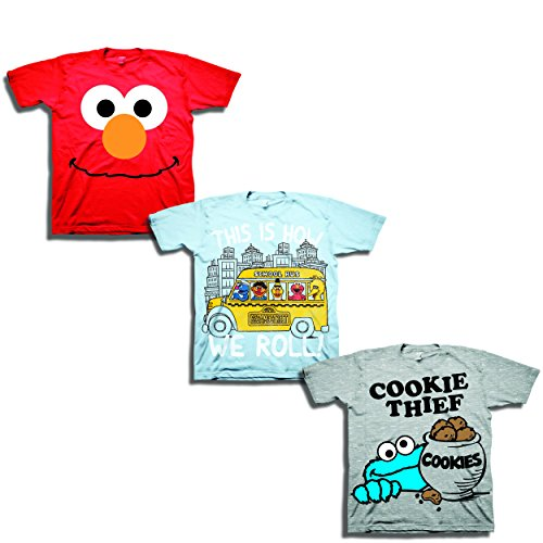 Sesame Street Boys' Toddler Boys' 3 Pack T-Shirt Bundle, Sky Blue/Red/Heather Grey, 2T -