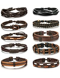 6-12pcs Leather Bracelet for Men Cuff Bracelet Set...