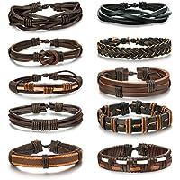 LOYALLOOK 6-12pcs Leather Bracelet for Men Cuff Bracelet Set Adjustable