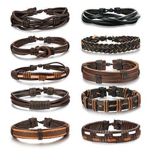 LOYALLOOK 5-10pcs Mens Leather Bracelet Vintage Wrap Cuff Wristbands With Adjustable Rope 2set