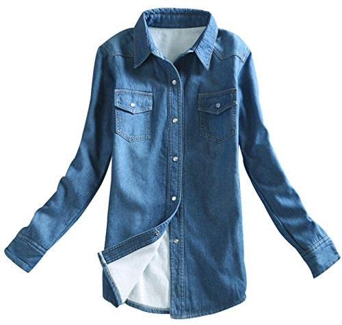 Trendy XU Women/Girls Denim Fleece Lining Jacket Slim Fit Thick Jean Shirt (Dark_Blue, (Lined Denim Shirt Jacket)