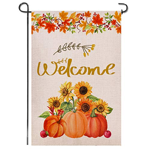 Shmbada Welcome Fall Burlap Garden Flag Double Sided Vertical Yard Lawn Outdoor Pumpkin Sunflower Autumn Maple Leaves Decorative for Autumn and Thanksgiving Day 12.5x18.5 inch (Not Included Stand)