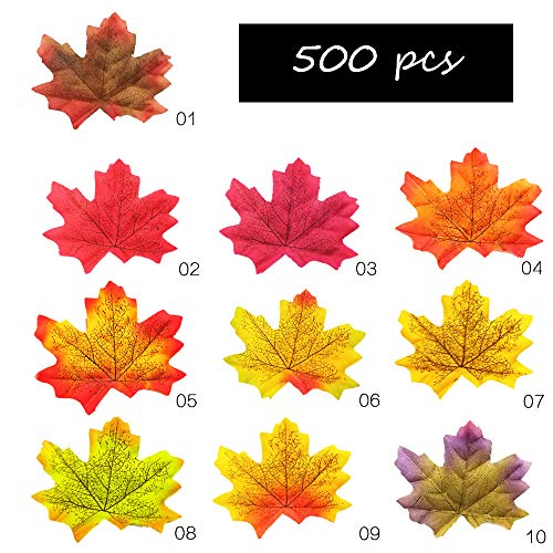 (Longess Artificial Fake Maple Leaves,500 pcs for Decorate Fall Autumn,Halloween Night,Church tablescape,Decoration for Weddings,Thanks-Giving,Events)