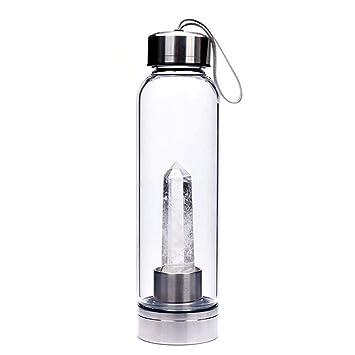 CTlite Botella de Agua de Cristal, 500 ML, Botella de Agua de Cristal Decorada con Varita de Cristal de Cuarzo Natural