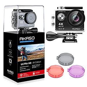AKASO EK7000 Plus 4K 16MP WiFi Action Camera Adjustable View Angle 30M Underwater Waterproof Camera Remote Control Sports Camera with Helmet Accessories Kit and Filters