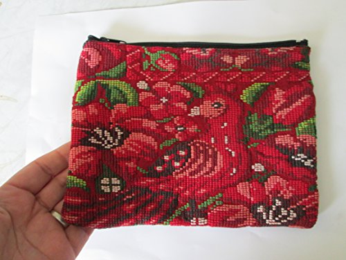red pink Handmade Guatemalan huipil Woven textile birds lily flowers floral Coin Purse travel Wallet Bag Zipper Pouch organizer fair trade Guatemala loomed Perfect for electronics cosmetics by Guatemalan and Proud