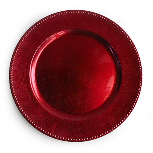 The Jay Companies Beaded Round Charger Plate, (Red Charger Plate)