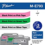 Brother ME793 P-Touch M Tape 3/Pack, Black on Pink, Black on Green, Black on Silver