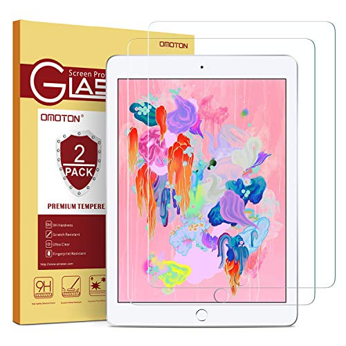 [2 Pack] OMOTON iPad 9.7 6th Generation Screen Protector, Tempered Glass Screen Protector for iPad 5th Generation/iPad Pro 9.7/ iPad Air 2 / iPad Air (9.7 Inch)
