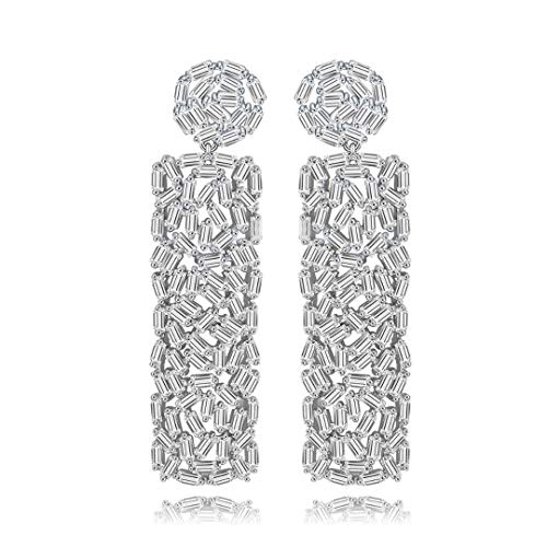- New Vintage Drop Earrings Unique Design Full Strip Shape CZ Crystal Round and Square Dangle Rhodium Plated