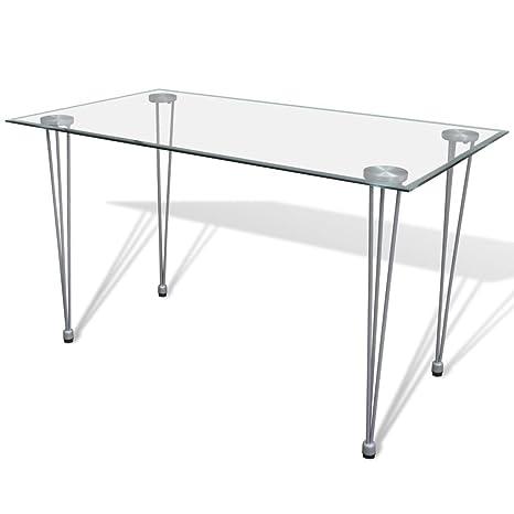 Piano Per Tavolo Vetro.Vidaxl Tavolo Da Pranzo Soggiorno Sala Cucina Piano Superiore Vetro
