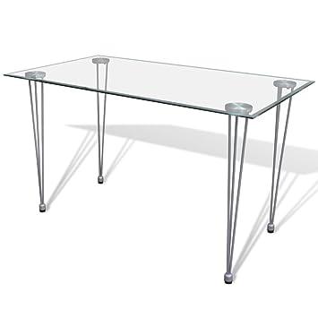 Vidaxl Table Transparente Avec Plateau Verre Trempe Pour Salle A