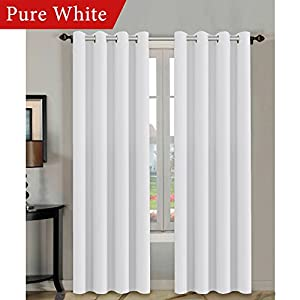 H.VERSAILTEX Thermal Insulated Room Darkening White Curtains 108 inches Long for Patio Glass Door, Winow Treatment Extra Long Panels Drapes, Grommet 2 Panels, Pure White