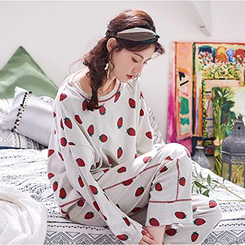 colored Una Pijamas Estampado Piezas Cuello Multi Algodón Y Fresa Pieza Redondo De Encantadora Mujer Larga Dulce Dos Camisones Niña Ropa Casa Manga Blanco Impreso Conjunto SwT1dd