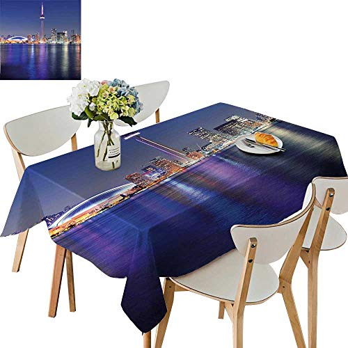UHOO2018 Tablecloth Toronto Sunset Over The Lake Panorama Urban City Skyline with Night Lights Blue Square/Rectangle Table Cover,50x 50inch -