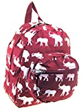 Elephant Small Kids Backpack Toddler Bag Purse Burgundy Bama