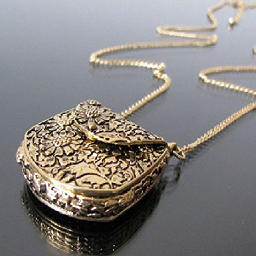 1pc Vintage Jewelry Carved Pendant Gift Necklace Locket -