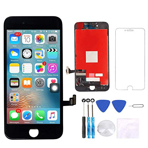 (Screen Replacement Compatible with iPhone 7 Plus Screen Replacement Black LCD Display Digitizer Assembly Replacement with Screen Protector and Repair Tools kit for iPhone 7 Plus Screen Black)