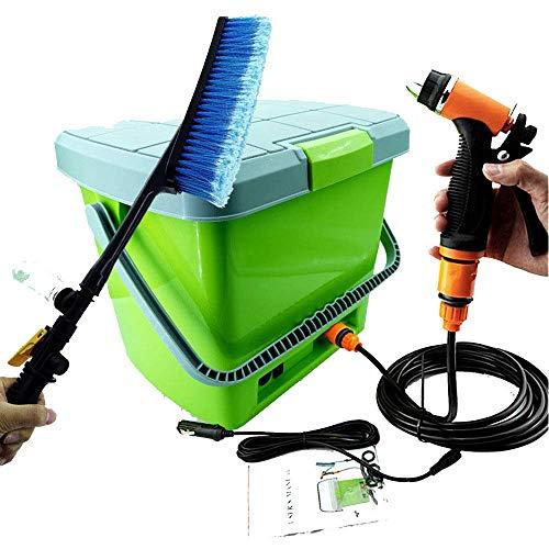ZBTH Car Wash Tools, Portable Car Wash, 12v Charging Car Wash Machine, Set with Spray Gun Pipe Brush and 18l Bucket Storage Box,Green