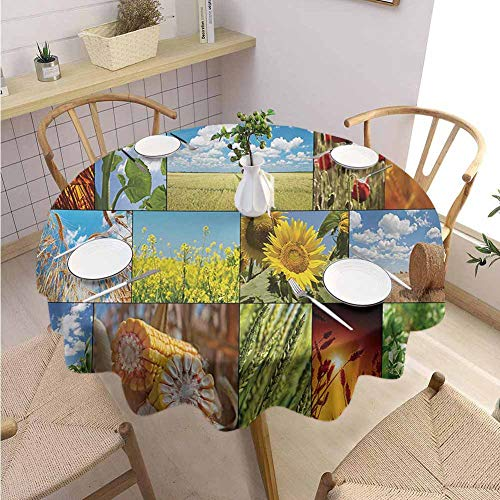 DILITECK Rustic Pad Round Tablecloth Crops Under Sun Sunflower Wheat Field Rustic Farm Theme Idyllic Landscapes Print Table Decoration Diameter 63