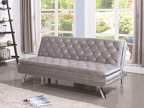 Sofa Bed with Diamond Tufting Silver