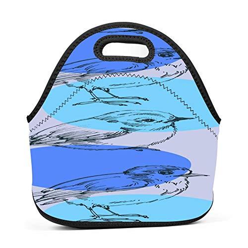 dreambest Bird Wallpaper Insulated Neoprene Lunch Bag for Women, Men and Kids Lunch Bag Handbag for Work and School