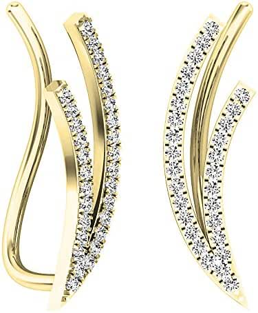 0.25 Carat (ctw) 10K Gold Round Cut White Diamond Ladies Double Row Climber Earrings 1/4 CT