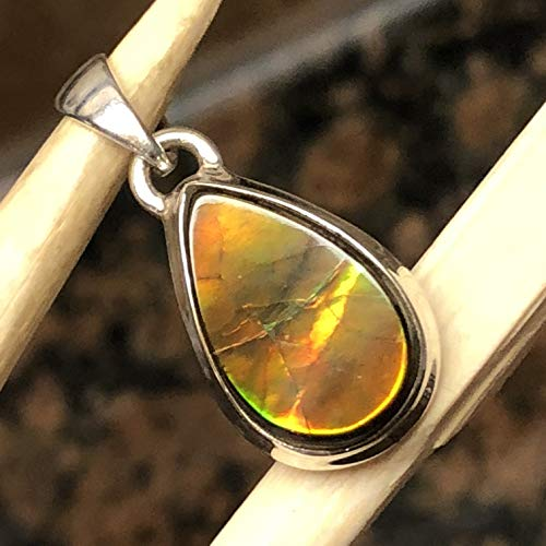 AAA Natural Canadian Ammolite 925 Solid Sterling Silver Healing Stone Pendant 25mm Long