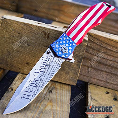 KCCEDGE BEST CUTLERY SOURCE USA American Flag 8 Inches Punisher Folding Pocket...