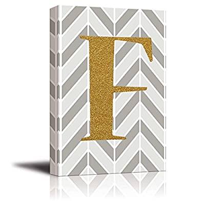 Beautiful Creative Design, Made With Love, The Letter F in Gold Leaf Effect on Geometric Background Hip Young Art Decor
