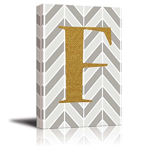 The Letter F in Gold Leaf Effect on Geometric Background Hip Young Art Decor