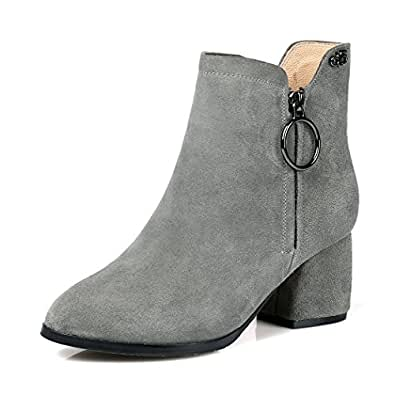 Threelove Women's Low Heel Zip UP Leather Ankle Boots Grey 7.5