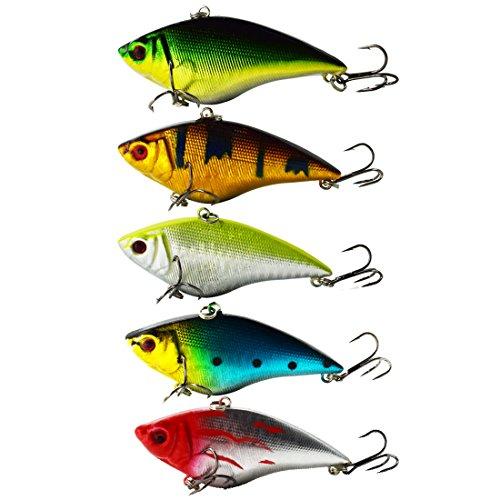 Motanar Fishing Lures Large Hard Bait Minnow VIB Lure Treble Hook Life-Like Swimbait Fishing Bait 3D Fishing Eyes Popper Crankbait Vibe Sinking Lure Bass Trout Walleye Redfish -