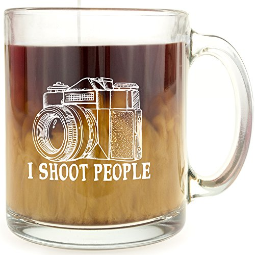I Shoot People - Glass Coffee Mug - Makes a Great Gift for Photographers!
