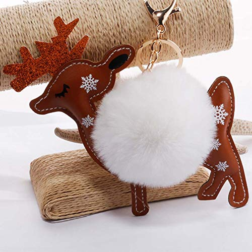 Amazon.com: Rarido Women Deer Fluffy Pompom Bunny Keychain ...