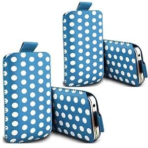 ONX3 - TWIN PACK - Alcatel One Touch Idol 2 Polka Tab funda protectora de cuero de la PU tirón bolsa de la cubierta de piel (Baby Blue)