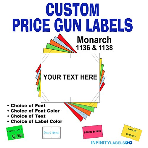 CUSTOM PRICE GUN LABELS - Customizable Monarch 1136 compatible labels to fit all Monarch 1136 price guns. Full case + 8 ink rollers (you choose the colors, font and text) ()