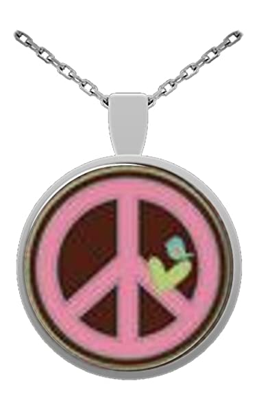 Peace Sign Symbol 1 Inch Glass Pendant With 24 Inch Silver Plated