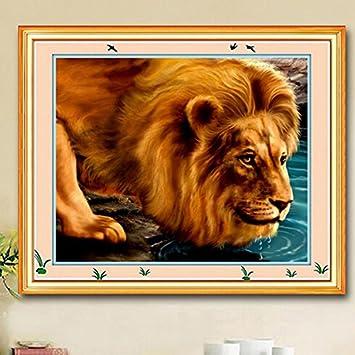 tourwin 53 x 42 cm DIY Löwe Muster Set Stickerei Set Gewinde Naht ...