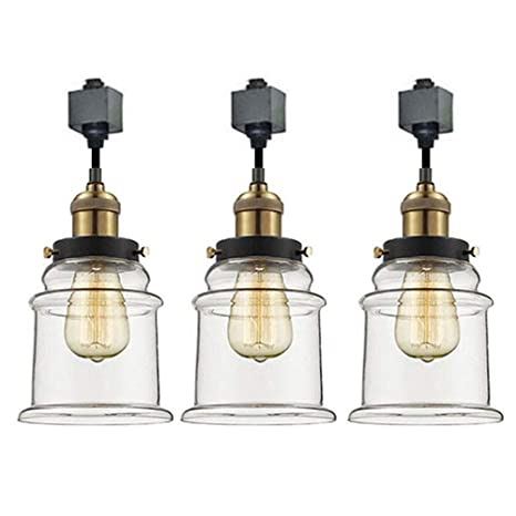 buy popular dc1a5 e33b6 KIVEN 3 Pack H-Track Lighting Kitchen Pendant Light - Clear Glass Shade  Industrial Hanging Lamp, UL Listed-Cord Lengths 12 inch.