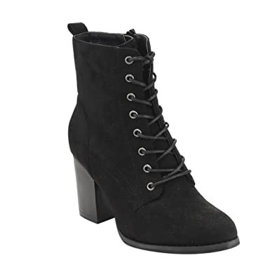 Amazon.com | Beston GF08 Women's Lace Up Side Zip Block High Heel ...