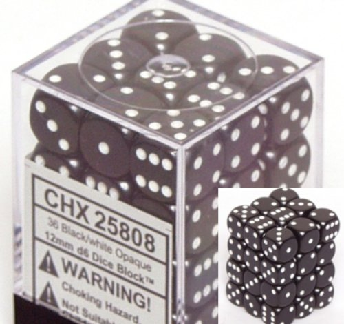 36 Dice Set - Black Opaque Dice 12mm D6 Set of 36 CHX25808