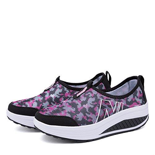 Zicoope Damen Athletic Casual Slip-On Toning Sneaker Wanderschuh Schwarz (b)