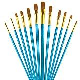 Paint Brushes, Laniakea 12pcs Flat Paint Brush Set for Watercolor/Oil/Acrylic/Crafts/Rock & Face Painting(Blue)
