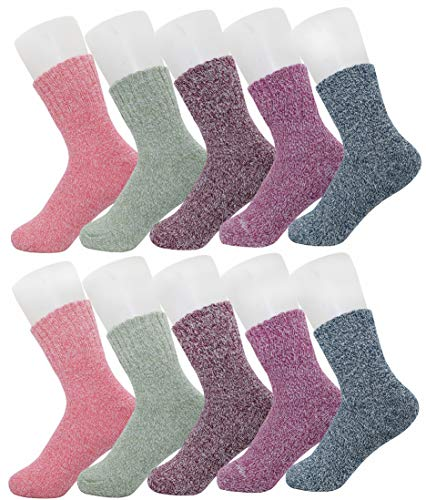 5 Pairs Winter Socks, Vintage Style Chunky Knit Wool Cashmere, Thick Warm Soft Solid Casual Sports Socks-Mixed Color