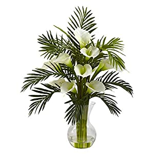 Nearly Natural Calla Lily and Areca Palm Silk Flower 80