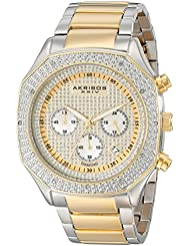 Akribos XXIV Mens AK778TTG Chronograph Quartz Movement Watch with Yellow Gold Dial and Two Tone Stainless Steel...