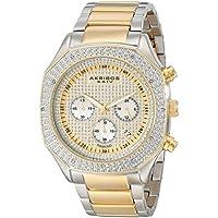 Akribos XXIV Men's AK778TTG Chronograph Quartz Movement Watch with Yellow Gold Dial and Two Tone Stainless Steel Bracelet