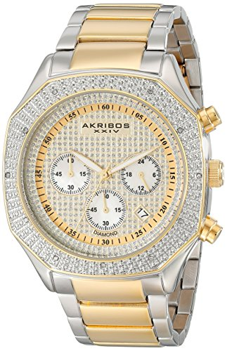 - Akribos XXIV Men's AK778TTG Chronograph Quartz Movement Watch with Yellow Gold Dial and Two Tone Stainless Steel Bracelet